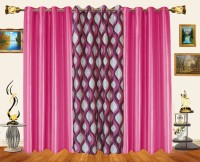 Decor Bazaar Polyester Pink Printed Window Curtain 60 Inch In Height, Pack Of 3