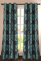 Deco Window Polyester Green Solid Eyelet Door Curtain 228.6 Inch In Height, Single Curtain