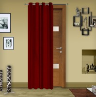 Story @ Home Silk Maroon Solid Tab Top Curtain 215 Cm In Height, Single Curtain
