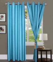 Home Fashion Gallery Polyester Blue Plain Eyelet Window Curtain 152.4 Cm In Height, Pack Of 6