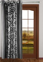 Homefab India Polyester Grey Floral Eyelet Door Curtain 213.36 Cm In Height, Single Curtain