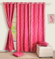 Swayam Satin, Silk Multicolor Printed Ring Rod Door Curtain 90 Inch In Height, Single Curtain
