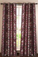 Deco Window Polyester Maroon Solid Eyelet Door Curtain 228.6 Inch In Height, Single Curtain