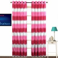 FABUTEX Polyester Pink Abstract Eyelet Door Curtain 213 Cm In Height, Pack Of 2
