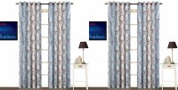 Fabutex Polycotton Blue Printed Eyelet Door Curtain 213 Cm In Height, Pack Of 4
