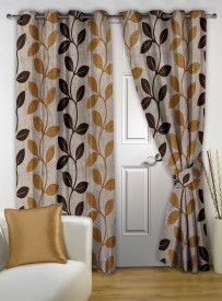 Story @ Home Polyester Brown Printed Eyelet Door Curtain