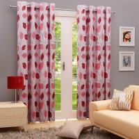 Angrezi Home Polyester Grey/Maroon Floral Eyelet Long Door Curtain 274 Cm In Height, Pack Of 2