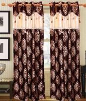 Jojo Designs Polyester Brown Printed Ring Rod Long Door Curtain 274 Cm In Height, Pack Of 2