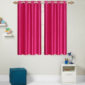 Furnishing Zone Polyester Pink Plain Eyelet Door Curtain