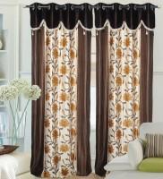 Decor Vatika Polyester Brown Abstract Door Curtain 214 Cm In Height, Single Curtain