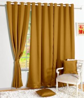 Story @ Home Silk Mustard Solid Tab Top Door Curtain 215 Cm In Height, Single Curtain