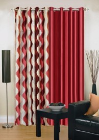 Ville Style Polyester Maroon Abstract Eyelet Long Door Curtain