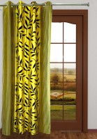 Homefab India Polyester Yellow Floral Eyelet Door Curtain 213.36 Cm In Height, Single Curtain