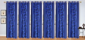 Stella Creations Polyester Blue Printed Eyelet Door Curtain