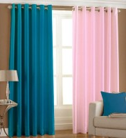Excel Bazaar Polyester Light Blue, Light Pink Plain Eyelet Door Curtain 212 Cm In Height, Pack Of 2