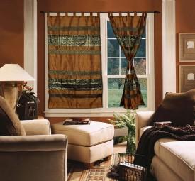 Lal Haveli Silk Multicolor Animal Tab Top Door Curtain