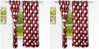 Story @ Home Polyester Beige Checkered Eyelet Window Curtain 152 Cm In Height, Pack Of 4