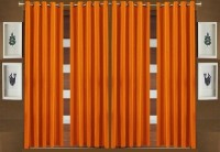 BLUE EYE Polyester Orange Plain Eyelet Door Curtain 213 Cm In Height, Pack Of 4