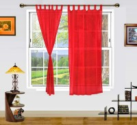 Dekor World Cotton Red Solid Tab Top Window Curtain 150 Cm In Height, Pack Of 2