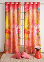 Swayam Cotton Pink, Yellow Printed Ring Rod Window Curtain 60 Cm In Height, Single Curtain