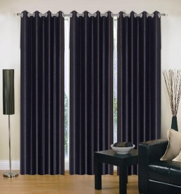 ZAIN Polyester Black Plain Eyelet Long Door Curtain