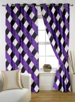 Story @ Home Polyester Purple Printed Door Curtain 210 Cm In Height, Pack Of 2