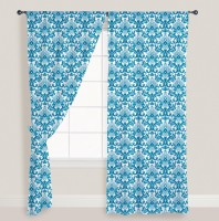 Smart Home Cotton Blue Printed Eyelet Window Curtain 210 Cm In Height, Pack Of 2