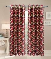 Decor Vatika Polyester Red Abstract Door Curtain 84 Cm In Height, Single Curtain