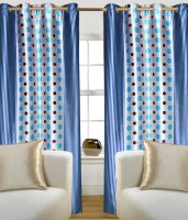 Madhavs Polyester Blue Geometric Eyelet Door Curtain 212 Cm In Height, Pack Of 2