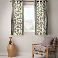 Fabutex Polyester Green Floral Eyelet Window Curtain 150 Cm In Height, Pack Of 2