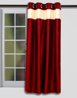 T.Decor Polyester Red Door Curtain 214 Cm In Height, Single Curtain