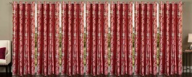 Stella Creations Polyester Maroon Printed Eyelet Window Curtain