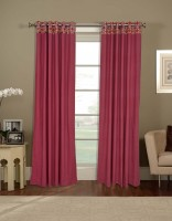 Salona Bichona Cotton Red Plain Curtain Door Curtain 228 Cm In Height, Single Curtain