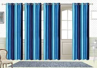 Comfort Zone Polyester Sky Blue And Blue Solid Eyelet Door Curtain 213.36 Cm In Height, Pack Of 4