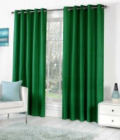 Home Fashion Gallery Polyester Green Plain Eyelet Door Curtain 213.36 Cm In Height, Pack Of 2