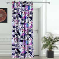Story @ Home Polyester Pink Printed Eyelet Door Curtain 215 Cm In Height, Single Curtain