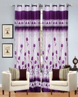 Hargunz Polyester Purple Floral Eyelet Door Curtain 213.36 Cm In Height, Single Curtain