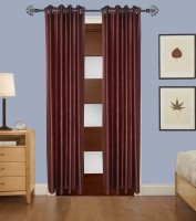 Home Fashion Gallery Polyester Brown Plain Eyelet Window Curtain 152.4 Cm In Height, Single Curtain