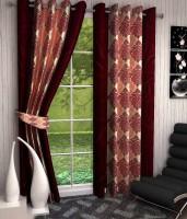 K Decor Polyester Maroon Printed Eyelet Door Curtain 213 Cm In Height, Single Curtain