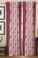 Furnishing Kingdom Polyester Maroon Floral Window & Door Curtain 90 Inch In Height, Pack Of 2