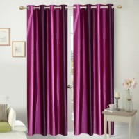 Fresh From Loom Polyester Multicolour Plain Eyelet Door Curtain 213 Cm In Height, Pack Of 2