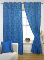 Fabutex Polyester Blue Geometric Eyelet Door Curtain 214 Cm In Height, Pack Of 2