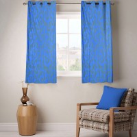 Fabutex Polyester Blue Geometric Eyelet Window Curtain 152 Cm In Height, Pack Of 2