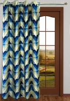 Homefab India Polyester Blue Geometric Eyelet Door Curtain 2.1 M In Height, Single Curtain