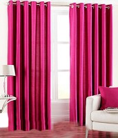 La Elite Polyester Dark Pink Door Curtain 84 Inch In Height, Pack Of 2