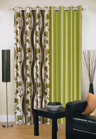 Ville Style Polyester Green Abstract Eyelet Door Curtain