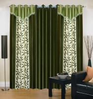 Excel Bazaar Polyester Green Floral Eyelet Door Curtain 212 Cm In Height, Pack Of 3