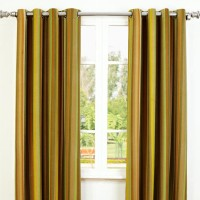 Maspar Cotton Brown Self Design Eyelet Door Curtain 106 Cm In Height, Single Curtain