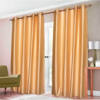 Christy's Collection Polyester Gold Self Design Eyelet Door Curtain 203.28 Cm In Height, Pack Of 4