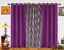 Dekor World Waves In The Air With Solid Window Curtain - Pack Of 3 - CRNDXM387DUGZZGH